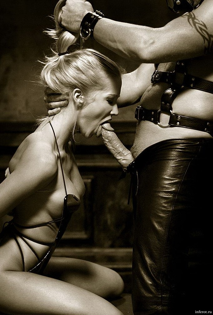 Sexy blonde in a incredible bdsm bj picture.
