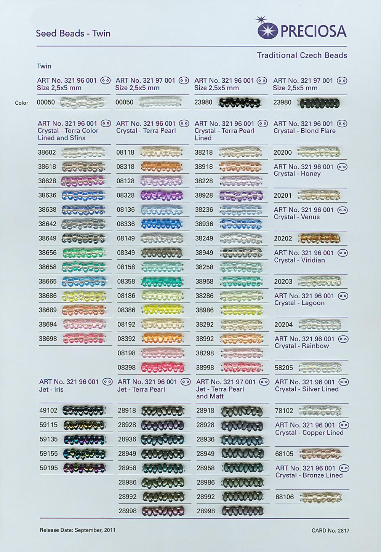 Карта цветов бисера preciosa с живым бисером