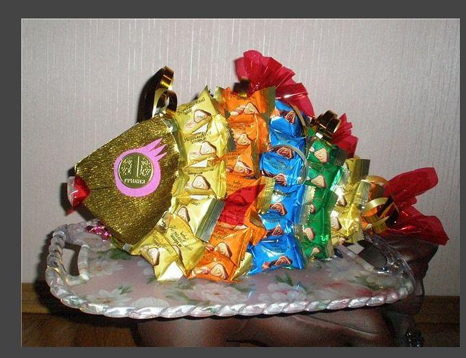 Поделка на день папы из конфет
