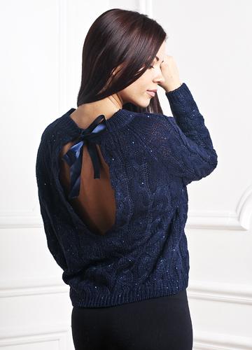 Пуловер с косами и бантом 89