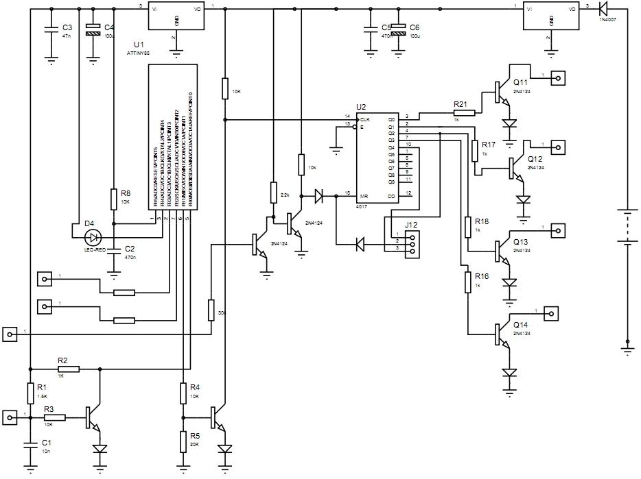 Вот схема.  Транзисторы я использовал 2N5551,а в выходных каскадах(на коммутаторы) F422.  Диоды КД523.