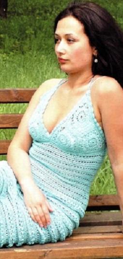 Ажурное платье крючком схема