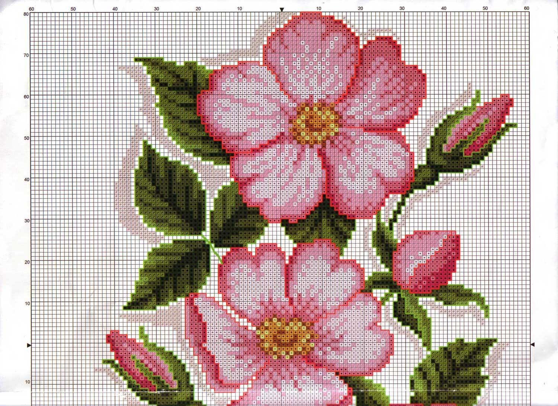 Схема вышивки розовых цветов 558