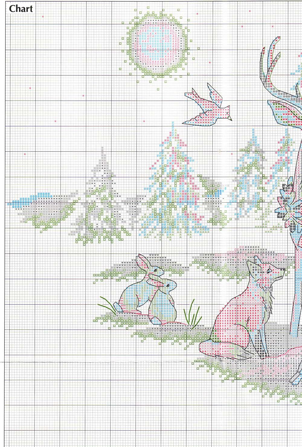 Схема вышивки юбки под елку