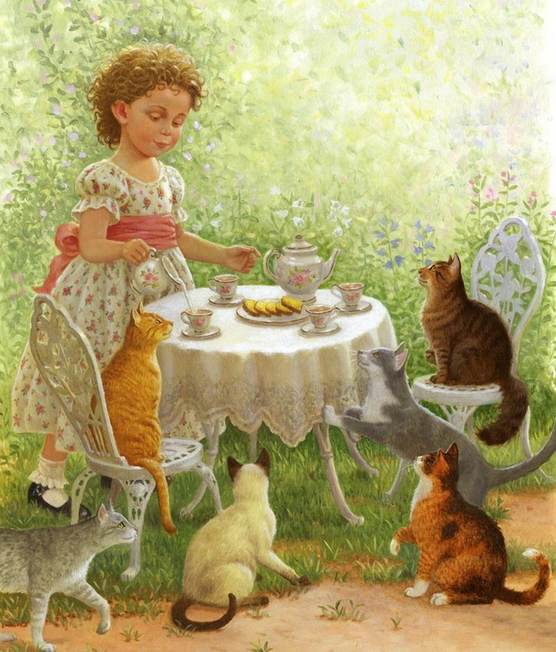 картинка животные пьют чай найдете